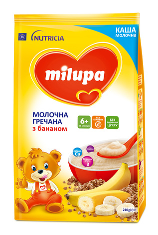 Milupa Каша молочна гречана з бананом з 6 місяців 210 г 1 пакет