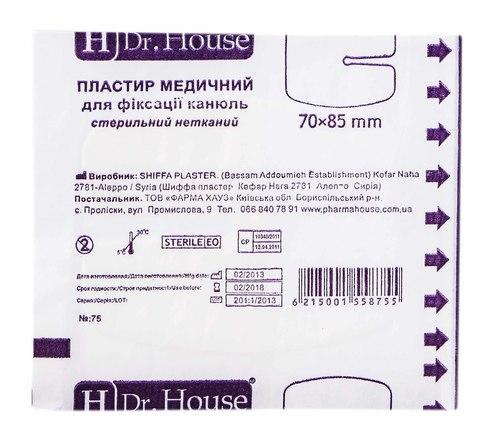 H Dr. House Пластир медичний для фіксації канюль стерильний нетканий 70х85 мм 1 шт
