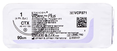 Ethicon Vicryl Plus 1 Шовний матеріал фіолетовий 90 см, колюча голка 48 мм 1/2 кола VCP371H 1 шт