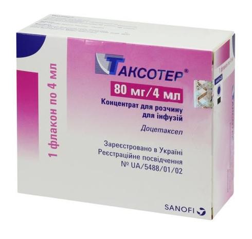 Таксотер концентрат для інфузій 80 мг/4 мл 4 мл 1 флакон
