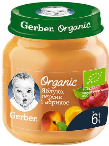 Gerber Organic Пюре Яблуко, персик і абрикос з 6 місяців 125 г 1 банка