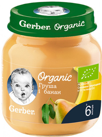 Gerber Organic Пюре Груша і банан з 6 місяців 125 г 1 банка