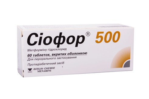 Сіофор таблетки 500 мг 60 шт