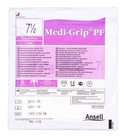 Ansell Medi-Grip PF Рукавички хірургічні латексні стерильні без пудри розмір 7,5 1 пара