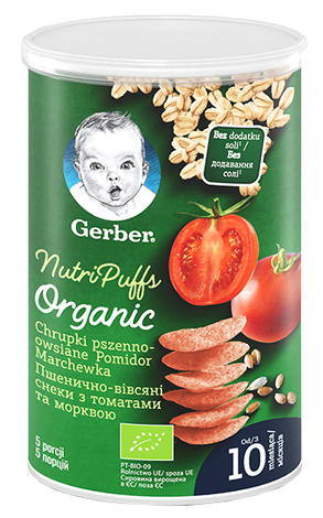 Gerber Органічні пшенично-вівсяні снеки з морквою та апельсинами 35 г 1 шт