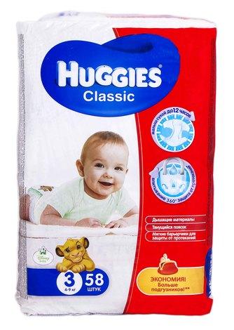 Huggies Classic 3 Підгузки дитячі 4-9 кг 58 шт