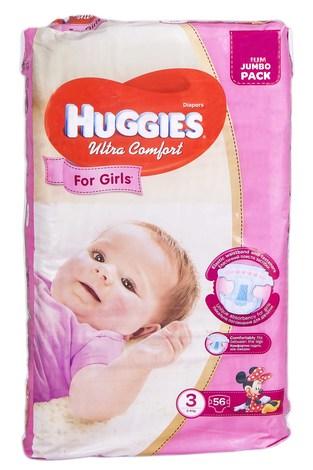 Huggies Ultra Comfort 3 Підгузки для дівчаток 5-9 кг 56 шт