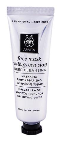 Apivita Маска для обличчя Глибоке очищення із зеленою глиною 50 мл 1 туба