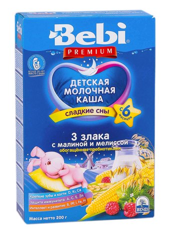 Bebi Premium Каша молочна 3 злаки з малиною і мелісою з 6 місяців 200 г 1 коробка