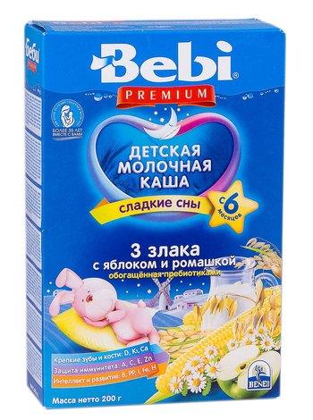 Bebi Premium Каша молочна 3 злаки з яблуком і ромашкою з 6 місяців 200 г 1 коробка