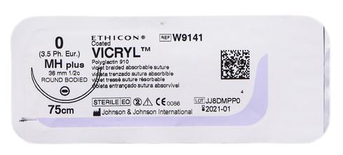 Ethicon Vicryl 0 Шовний матеріал фіолетовий 75 см, колюча голка 36 мм 1/2 кола W9141 1 шт