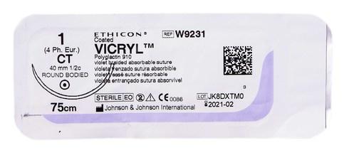 Ethicon Vicryl 1 Шовний матеріал фіолетовий 75 см, колюча голка 40 мм 1/2 кола W9231 1 шт