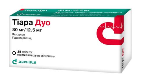 Тіара Дуо таблетки 80 мг/12,5 мг  28 шт