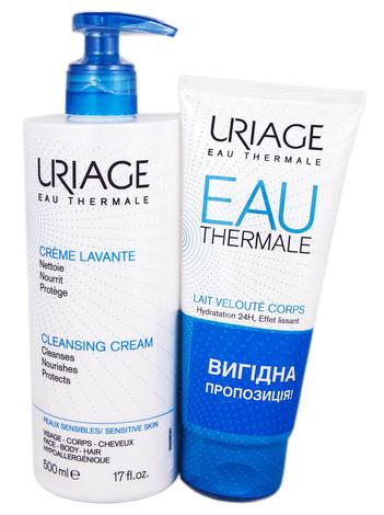 Uriage Очищуючий крем 500 мл + Eau Thermale шовковисте молочко для тіла 200 мл 1 набір