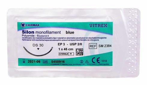 Chirmax Silon 2-0 Шовний матеріал синій 45 см, голка DS 30 мм SM2384 1 шт
