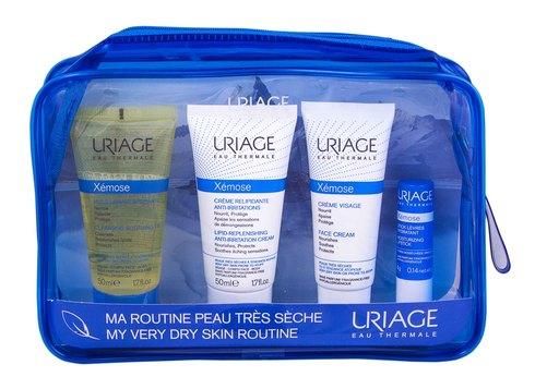 Uriage Xemose очищаюча олія 50 мл + крем ліпідовідновлюючий 50 мл + крем для обличчя 40 мл + стік для губ 4 г 1 набір