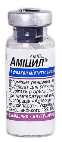 Аміцил ліофілізат для розчину для ін'єкцій 250 мг 1 шт