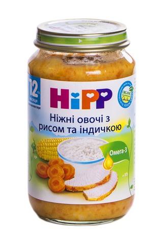 Hipp Пюре Ніжні овочі з рисом та індичкою з 12 місяців 220 г 1 банка
