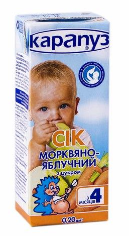 Карапуз Сік моркв'яно-яблучний від 4 місяців 200 мл 1 пакет