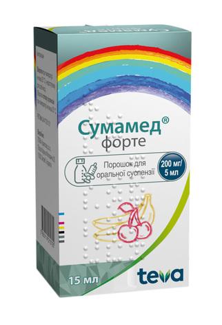 Сумамед форте порошок для оральної суспензії 200 мг/5 мл  15 мл 1 флакон