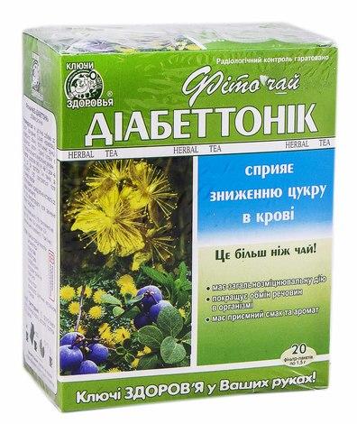 Ключі Здоров'я Фіточай № 62 Діабеттонік 1,5 г 20 фільтр-пакетів
