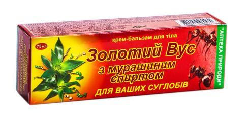 Золотий Вус з мурашиним спиртом крем-бальзам 75 мл 1 туба