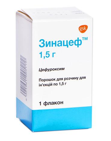Зинацеф порошок для ін'єкцій 1,5 г 1 флакон